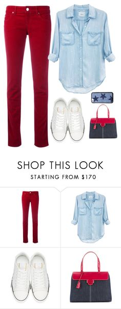 """""""red white boom denim"""" by im-karla-with-a-k ❤ liked on Polyvore featuring Armani Jeans, Rails, Valentino, Myriam Schaefer and Wildflower"""