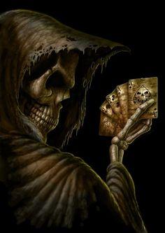 Ladies and Gentlemen: — Dead Mans Hand by *AndrewDobell Dark Fantasy Art, Dark Art, Arte Lowrider, Grim Reaper Art, Totenkopf Tattoos, Pirate Art, Skull Pictures, Skull Artwork, Skeleton Art