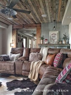 Rustic basement mancave wood ceiling barnwood cozy basement cowhide rug cabin cozy fur and leather corrugated metal wall winter hideaway med Cozy Basement, Rustic Basement, Basement Ideas, Basement Family Rooms, Industrial Basement, Basement Storage, Basement Carpet, Basement Plans, Hallway Ideas