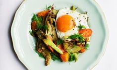 Chop and change: sautéed spring vegetables with mustard seeds and eggs.