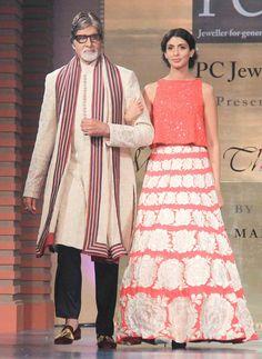 Amitabh Bachchan and daughter Shweta Bachchan walk the ramp at Shabana Azmi's fashion show 'Mijwan'. #Bollywood #Fashion #Style #Beauty #Handsome