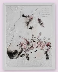 Fine art print One Sonny Day. Australian kids and children's art. Soft pink flower crown, lilac floral headdress, delicate antique lace embossing, horse, horse art, spirit animal, spirit animal art. Perfect for wall art, little girls bedroom deco, children kids gifts, christening, baby shower, christmas present. Water colour, painting, quote