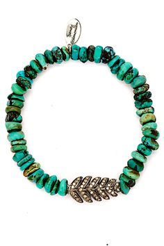 Double-Sided Diamond Leaf Turquoise Bracelet by 88 by Sandy Simonian