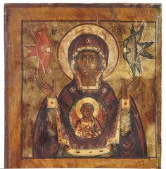 Ennusmerkin Jumalanäitiä ja Jumalanäidin kuolonuneen nukkumista esittävä ikoni 1700-luvun ikonostaasista