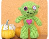 zombie crochet plush doll in lime green cotton stuffed handmade amigurumi