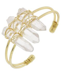 Gold Tone / Clear (color & Size May Vary)semi-precious Stone / Lead&nickel Compliant / Cuff / Bracelet