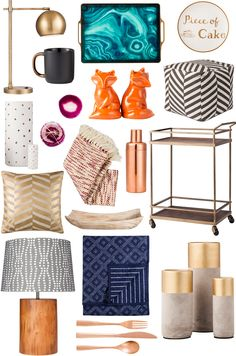 Target's Fall Threshold Collection (Sept 7) - desk lamp $50 and gold-spotted stone vases ($7-$25)