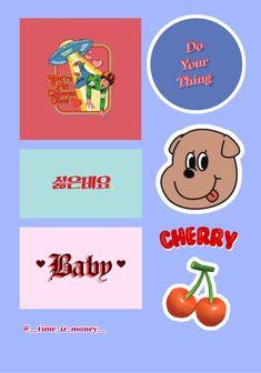 Pop Stickers, Printable Stickers, Journal Stickers, Planner Stickers, Sticker Printer, Arte Fashion, Cherry Baby, Diy Phone Case, Aesthetic Stickers