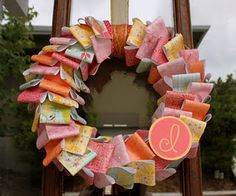 erinn's baby shower wreath - love these colors and monogram
