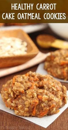 Healthy Carrot Cake Oatmeal Cookies – these skinny cookies don't taste healthy at all! You'll never need another oatmeal cookie recipe again! simple carrot cookies for easter. Carrot Cake Oatmeal, Healthy Oatmeal Cookies, Carrot Cake Cookies, Oatmeal Cookie Recipes, Carrot Cake Muffins, Cookies Recipe Chewy, Healthy Oatmeal Recipes, Healthy Granola Bars, Protein Cookies