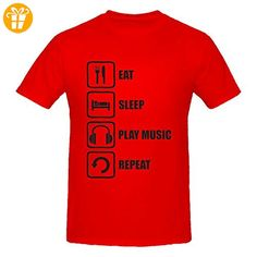 Eat Sleep Play Music Repeat Funny Black Graphic Men's T-Shirt XX-Large (*Partner-Link)