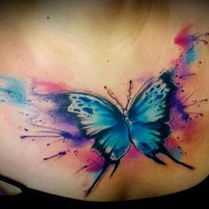 Watercolor tattoo – Tattoo ideas for girls and women and for those who love body art! Tattoo artist … - Best Watercolor tattoo – Tattoo ideas for girls and women and for those who love body art! Watercolor Butterfly Tattoo, Blue Butterfly Tattoo, Butterfly Tattoos For Women, Butterfly Tattoo Designs, Tattoo Flowers, Watercolor Tattoos, Butterfly Design, Tattoo On, Cover Tattoo