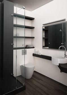 Aménager une petite salle de bain design, c'est possible grâce à des couleurs sobres et chic et des installations minimalistes et épurées.