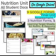 """This """"Distance Learning"""" resource includes 100 fill-in Google Slides and 9 Google Forms!  If you are a previous buyer of my 4-Week Nutrition Unit, this resource will allow you to take your lessons online and teach your students remotely!  Or, use these worksheets to supplement your own current program. Lots of options here! Teaching Science, Life Science, Teaching Resources, Teaching Tools, High School Health, Teacher Evaluation, Health And Physical Education, Learning Targets, Beginning Of The School Year"""