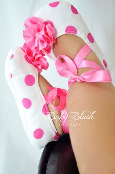 Shocking Pink Polka Dot Baby Shoes Soft by babyblushboutique, $20.00