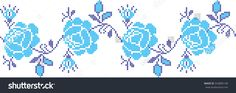 rose flower pattern embroidered cross-stitch pattern