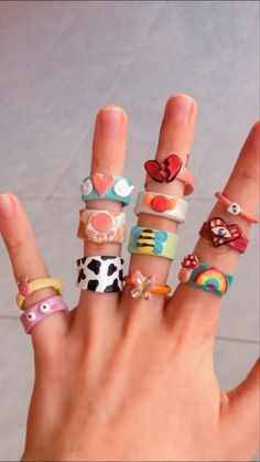 Fimo Ring, Polymer Clay Ring, Clay Art Projects, Clay Crafts, Hand Jewelry, Cute Jewelry, Diy Clay Rings, Cute Clay, Cute Rings
