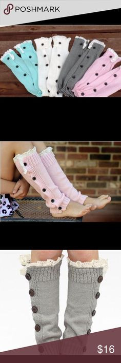 Leg Warmers Knitted leg warmers boot socks lace boot cuffs 1. Detail: leg warmers 2. Material: made by acrylic 3. Free size : fit girls 4. Color : Black,White,Light gray, Dark gray,Blue,khaki ,Coffee,Pink Accessories Hosiery & Socks