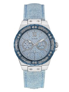 Blue and Silver-Tone High Style Denim Watch | shop.GUESS.com