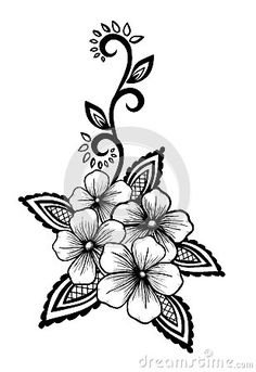 Black Flowers and Leaves Tattoo | Beautiful floral element. Black-and-white…