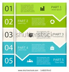 Vector arrows for infographic. Template for diagram, graph, presentation and chart. Business concept with five options, parts, steps or processes. Abstract background.