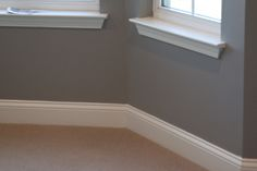 Love the grey with white base boards and window frames.