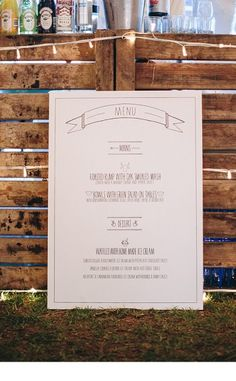 """I like this font/style for the menu. Simple, but cool and not too """"fluffy"""" looking Southern Charm Wedding, Menu Layout, Wedding Stationery Inspiration, Camping Theme, Wedding Invitations, Invites, Menu Design, Wedding Decorations, Wedding Ideas"""