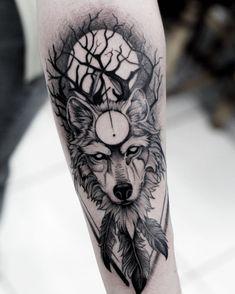 Wolf Tattoo Forearm, Wolf Tattoo Sleeve, Wolf Tattoos, Tattoo Sleeve Designs, Skull Tattoos, Animal Tattoos, New Tattoos, Tattoos For Guys, Sleeve Tattoos