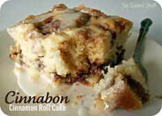 Cinnabon Cinnamon Roll Cake- simple ingredients and tastes amazing when it's warm and gooey! Cinnabon Cinnamon Roll Cake- simple ingredients and tastes amazing when it's warm and gooey! 13 Desserts, Delicious Desserts, Yummy Food, Think Food, I Love Food, Food Cakes, Cinnabon Cinnamon Roll Cake, Cinnabon Cake, Cinnamon Rolls