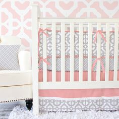 Caden Lane Baby Bedding - LOVE the brand new coral and gray fabric combo for #genderneutral #nurseries or just a change from pink!!!