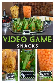 Video Game Birthday Food Inspiration - Delight Paperie - Video Game Birthday Food Inspiration Fun ideas for food and snacks for your Video Game Truck Birthday Party - Birthday Party Snacks, Snacks Für Party, Boy Birthday Parties, Xbox Party Food, 9th Birthday, Birthday Ideas, Brother Birthday, Themed Parties, Birthday Decorations