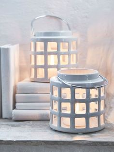 Ceramic White Lantern #nordichouse #white #ceramic #candleholder