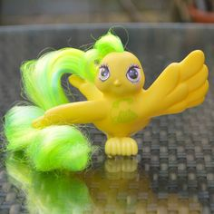 ATCTTeam Vintage My Little Pony Fairy Tails Bird 'Tattle Tails' by TeaJay, Vintage  Toy  Animal  My Little Pony  MLP  G1  1987  Hasbro  Bird  Fairy Tails  Tattle Tails  Yellow  Green Telephone  Friend  Animal