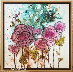 Op mijn hobbyzolder: Beautiful card using Stampendous Ranunculus Field stamp and Bister/Brusho medium background