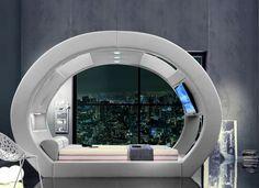 Doppelbett / originelles Design / integrierter Beleuchtung / Leder ECLIPSE SET ISBIR
