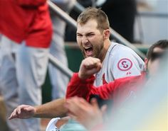starting pitcher Michael Wacha reacts after reliever Carlos Martinez struck out Pittsburgh Pirates' Jose Tabata to end the eighth inning, preserving the Cardinals' one-run lead during Game 4 of the NLDS. Cards won the game 2-1 forcing game 5 back in STL. 10-07-13