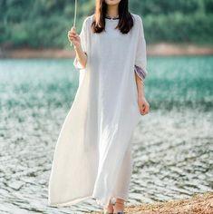 Womens linen maxi dress, Summer dress, Dress with Pockets, kaftan, Large size robes, Oversized Dress
