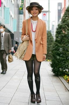 Tokyo street fashion:  I want the hat off, though.