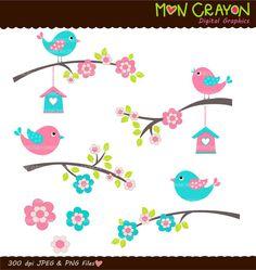 birds clip art  flowers clip art  blue teal pink  by moncrayon, $4.80