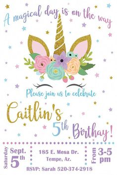 This Rainbow Unicorn Birthday Invitation Can Be Customized For Any Age And Is Perfect Your Little Girls Friends Family Will Love