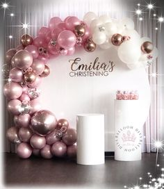 💗Circular Backdrop & Plinth Hire available with balloon garland 🎈🎈🎈💗Dm us for availability - Decoration For Home Simple Birthday Decorations, Dinner Party Decorations, Diy Baby Shower Decorations, Balloon Decorations Party, Balloon Party, Baloon Garland, Balloon Backdrop, Birthday Diy, Birthday Parties