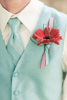 a mint green waistcoat plus a matching striped tie, a bold red boutonniere for a retro groom's look - Weddingomania Retro Wedding Theme, 50s Wedding, Rockabilly Wedding, Aqua Wedding, Wedding Themes, Wedding Day, Summer Wedding, Retro Weddings, Wedding Colours
