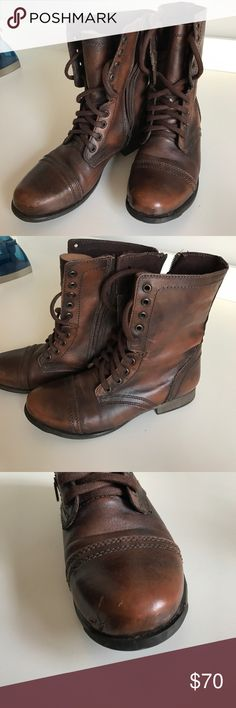 Steve madden troopa boot Beautiful brown leather army style boots!!! The left boot has small scratches from my dog but i had the boor repaired! Not really noticeable at all! Other than that perfect condition Steve Madden Shoes Combat & Moto Boots