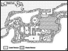 "A Medium sized cave/lair Designed for Dungeons and Dragons Based on a map from the 1984 TSR adventure ""When a Star Falls"". Designed for a 5th Edition remake of the Adventure Module."
