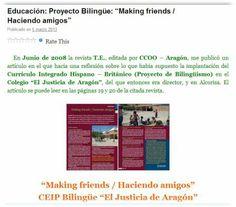 ¿En qué consiste el proyecto bilingüe? Make Friends, Journals, School, Projects