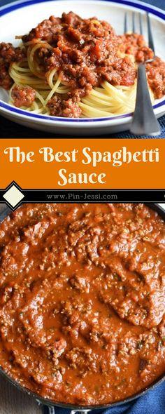 The Best Spaghetti Sauce Recipe - Pin-Jessi Best Homemade Spaghetti Sauce, Best Spaghetti Recipe, Spagetti Recipe, Meat Sauce Recipes, Pasta Recipes, Beef Recipes, Dinner Recipes, Cooking Recipes, Recipies