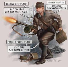 Tuntematon sotilas tunnetaan maailmallakin. Puhekuplien tekstit ovat kirjan käännöksistä.