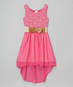 Fuchsia Hi-Low Belted Dress #zulily #zulilyfinds