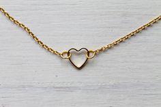tiny dainty heart necklace gold or silver by LoveLittleDarling
