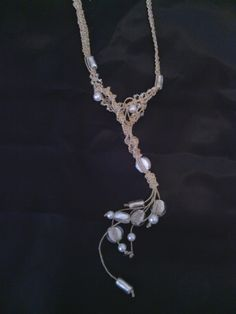 Macrame necklace with pearls and glass beads, Couture by Nydia Studio